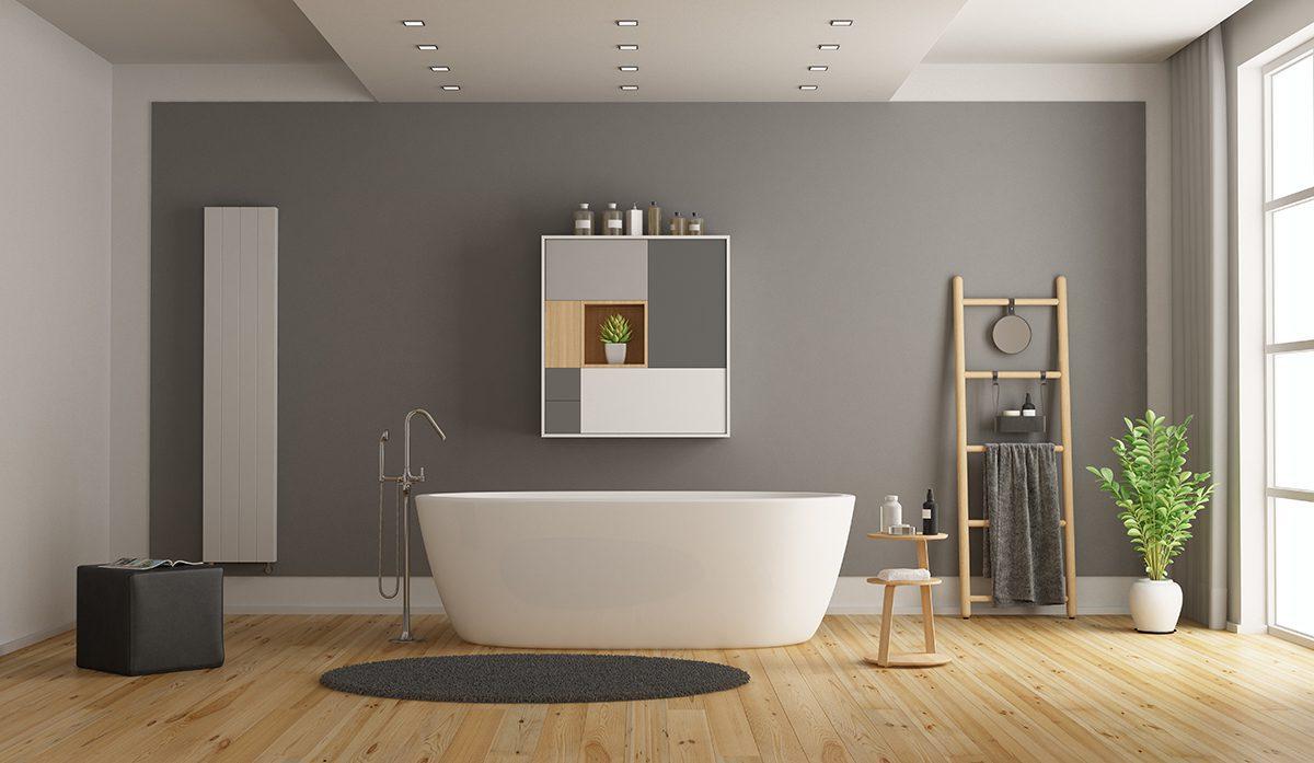 Minimalist white and gray bathroom