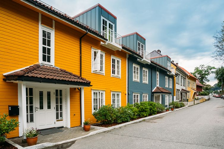 Bergen Norway. Colorful Facades Of Houses On Deserted Street At